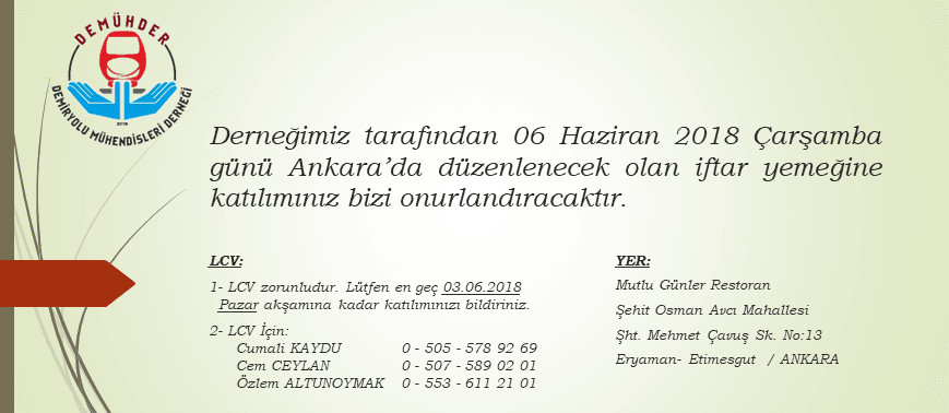 Ankara İftarı 06 Haziran 2018 Tarihinde Yapılacak